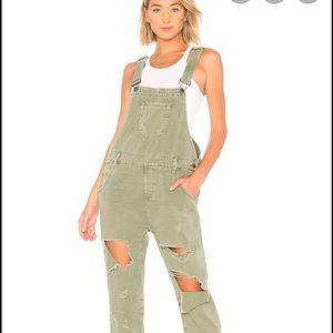 Free People Green Overalls
